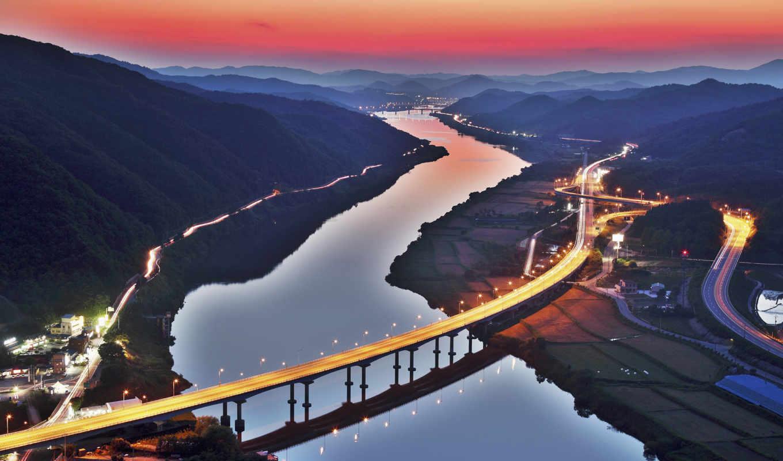 korea, река, мост, дороги, горы, холмы, south, город,