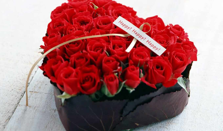 martha, цветы, розы, цветов, роза, коробке, красные, букет, день, форме, цветами,