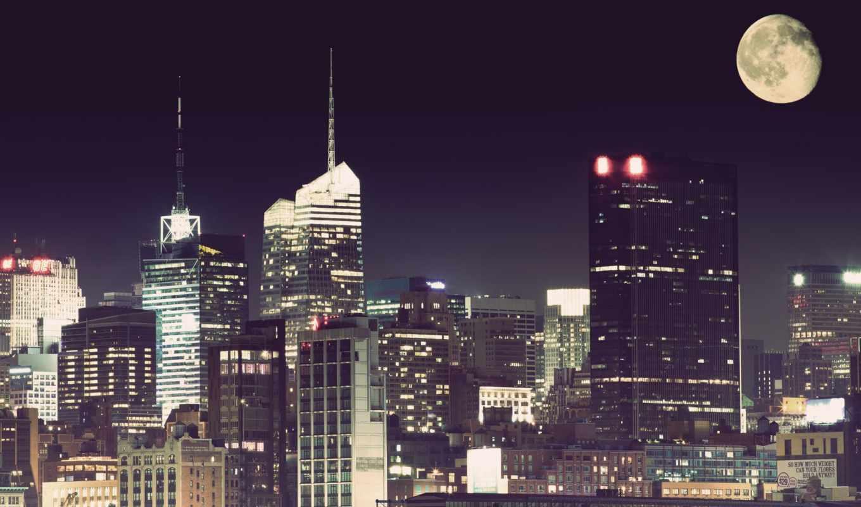 город, луна, ночь, нью, york, art,