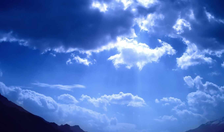 небо, blue, просвечивает, sun,