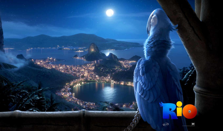 rio, город, ночь, janeiro, огни, brazil,