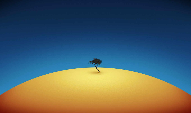 минимализм, дерево, blue, yellow,