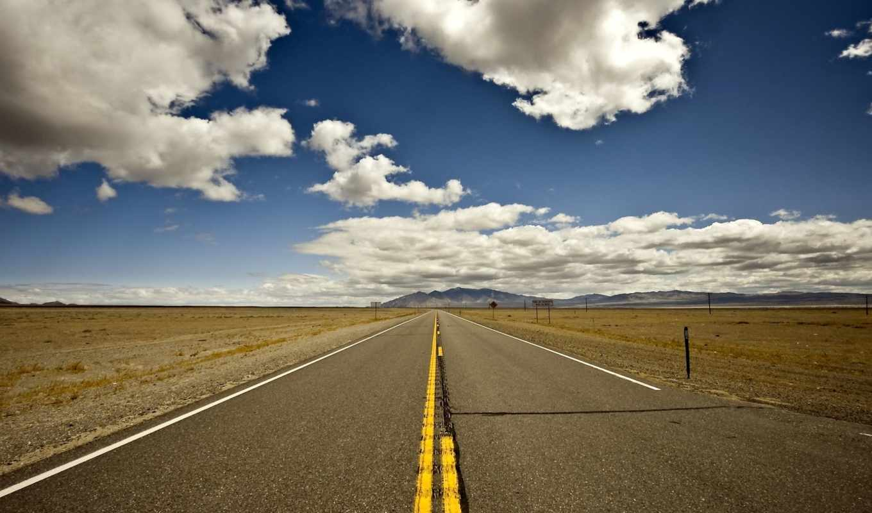 дорога, горизонт, небо, oblaka, холмы, route, горы,