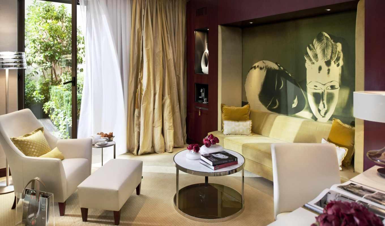интерьер, стиль, дизайн, белый, бежевый, комната, mandarin, oriental, картинка, suite, paris, дом,