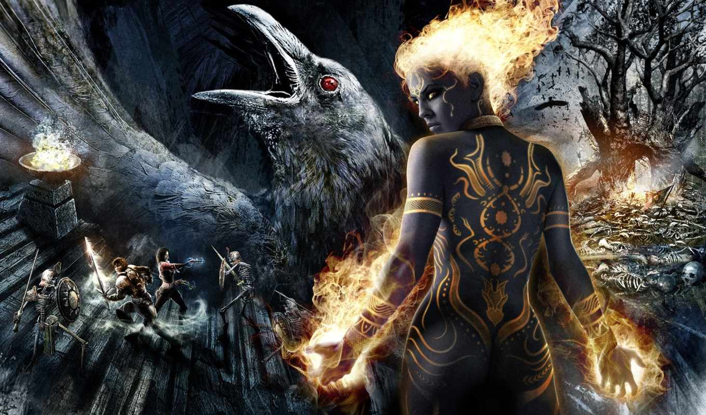 dungeon, siege, ворон, девушка, игры, магия, скелеты,
