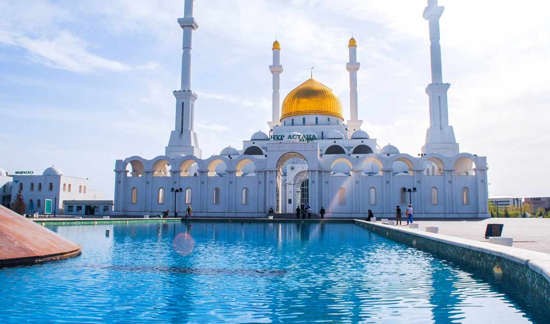 kazakhstan, взгляд, mosque, astana, минарет, флаг,