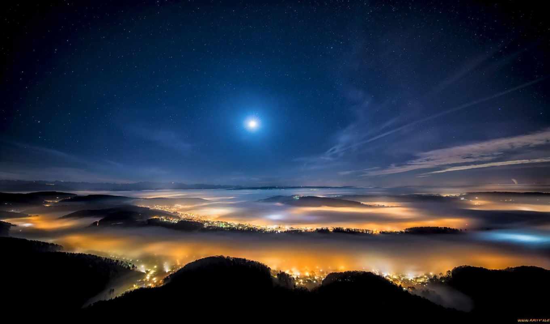 город, вид, вечер, первую, starry,