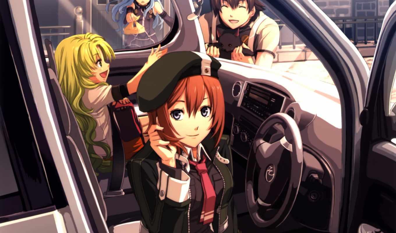 anime, девушка, прогулка, машина,