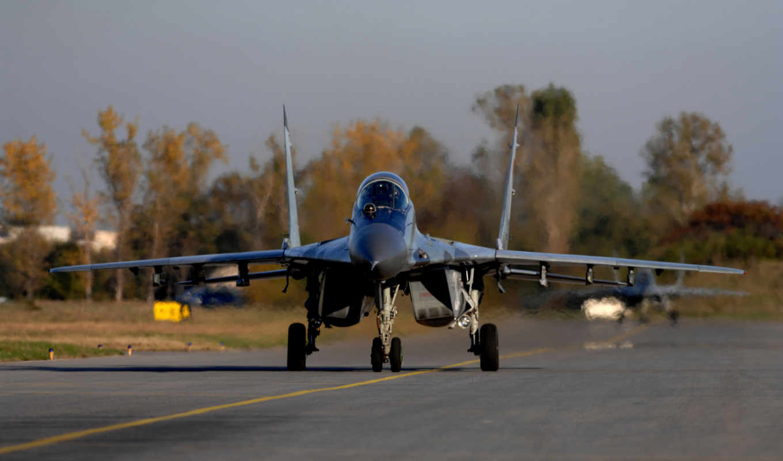 истребитель, многоцелевой, аэродром, миг, четвёртого, взлёт, поколения, самолёт, картинку, картинка,