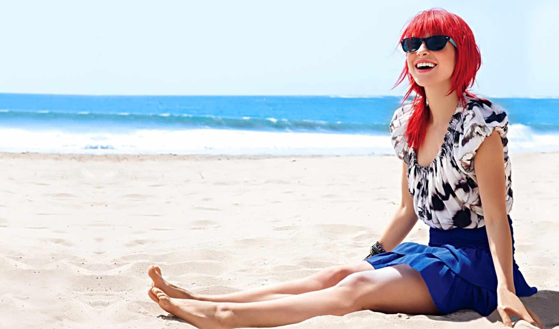 williams, hayley, пляж, песок, девушка, солнце, певица, хейли, девушки,