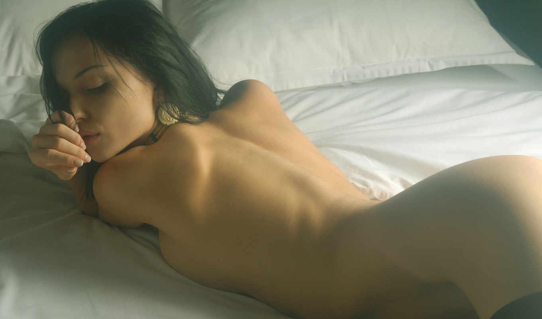 devushka, кровати, обнаженная, красивая, katie, fey,