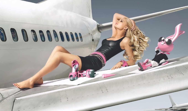 самолета, крыле, девушка, девушки, крыло,