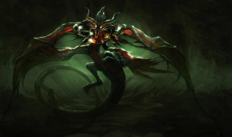 dragon, качестве, фантастические, монитора, monster,