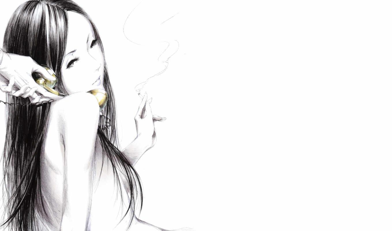 девушка, сигарета, рисунок, дым,