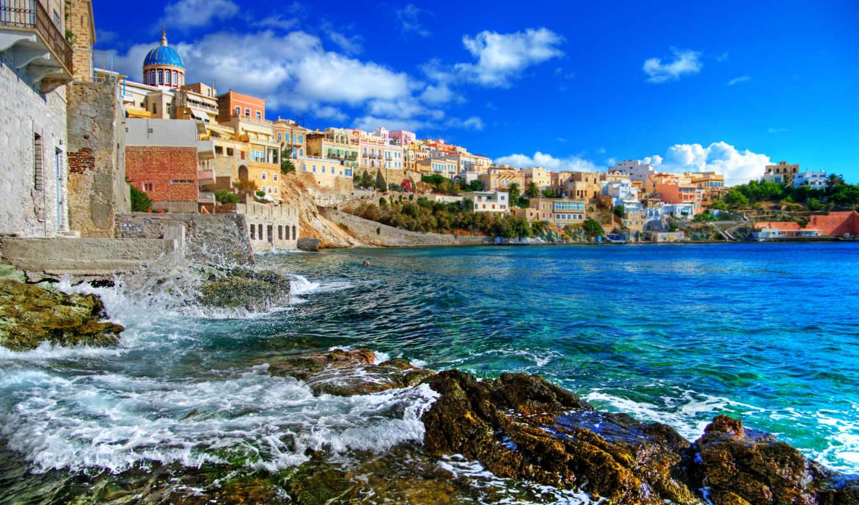 природа, дома, пейзаж, облака, небо, greece, море, картинка,