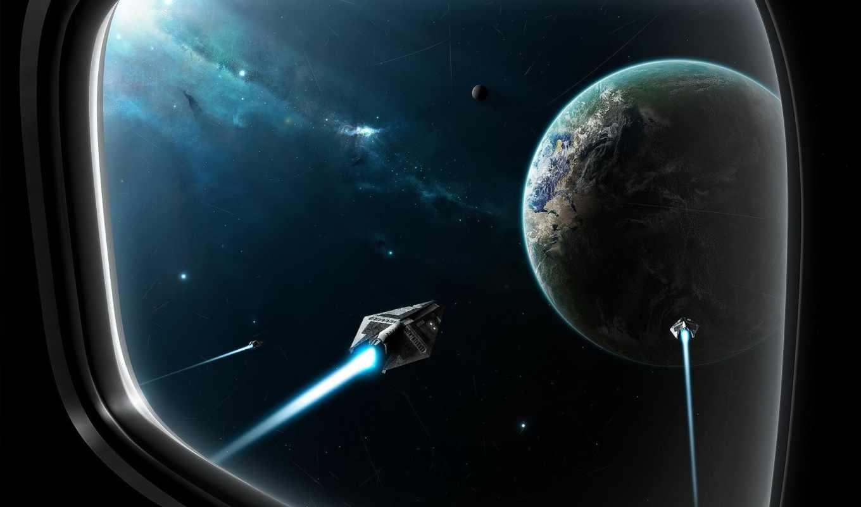 иллюминатор, космос, planet, космические, ночь, корабли, звезды,