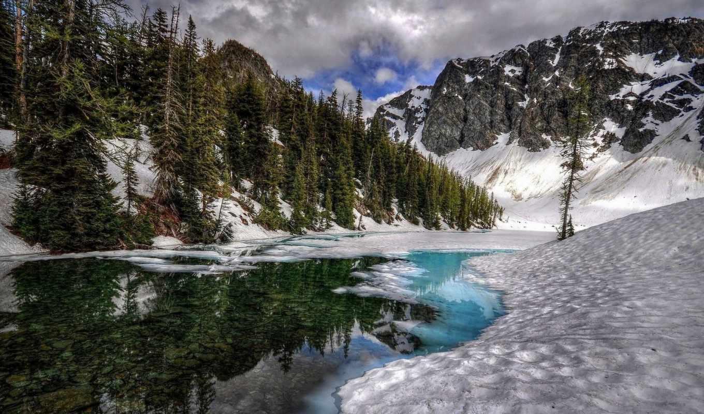 fond, ecran, hiver, paysage, montagnes, природа,