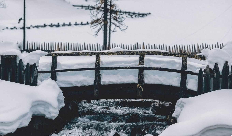 забор, split, мост, rail, снег, winter, mac, ноутбук