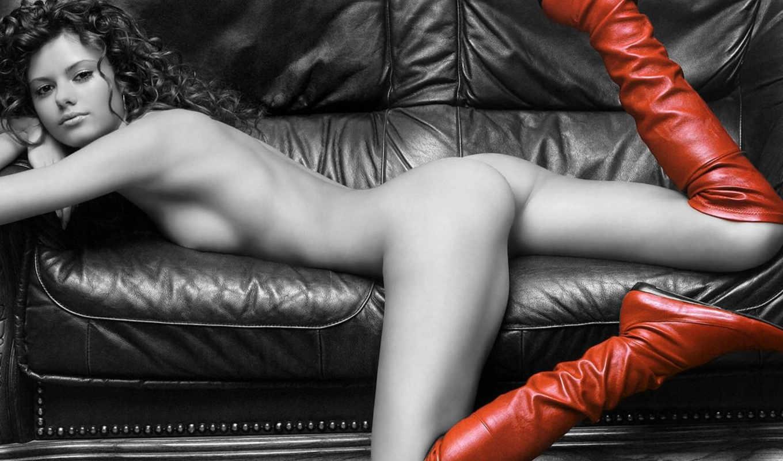 девушка, сапоги, чёрно, диван, белое, красные, девушки, картинку,