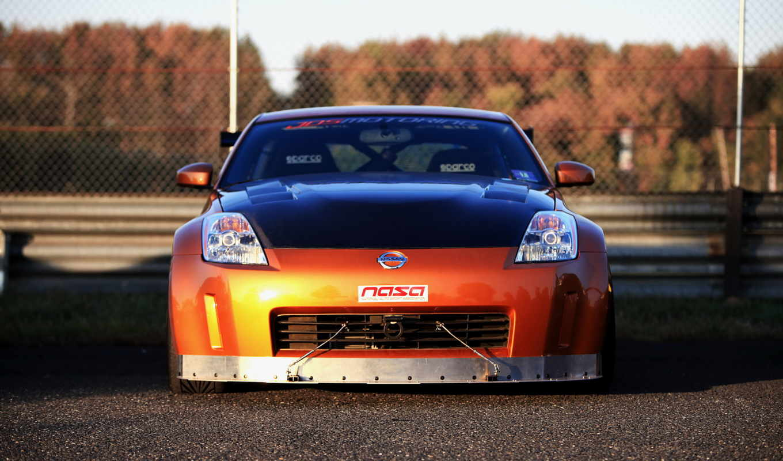 nissan 350z, авто, оранжевая, машина,