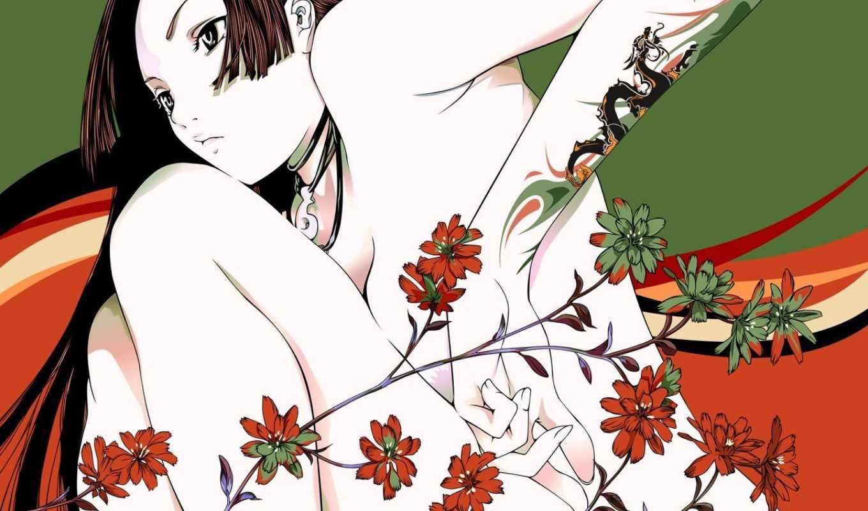 вектор, цветы, дракон, девочка,