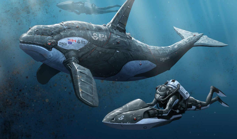 водой, под, robot, море, fish, art, люди, картинка, кит,