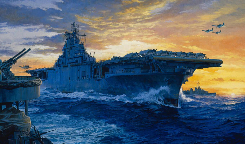 корабли, рисованные, армия, авианосец, lone, pacific, star, battleship, солдаты,