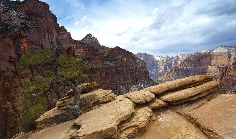 скалы, небо, oblaka, дерево, горы, дек, gompix, камни, янв, каньон, природа,
