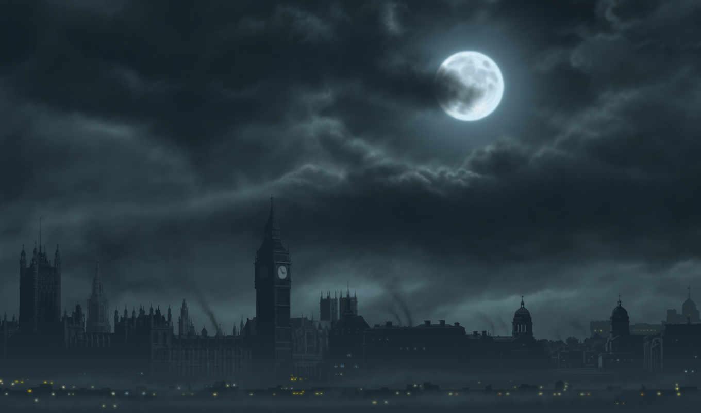 обои, лондон, луна, ночь, london, ночью, фото, hd,