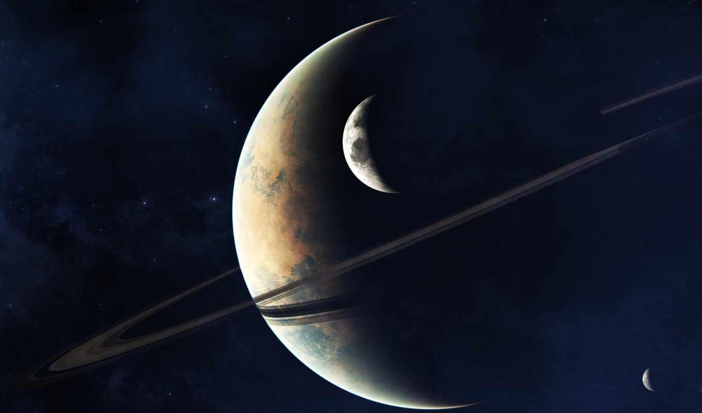космос, звезды, кольца, гигант, спутник, планеты, арт,
