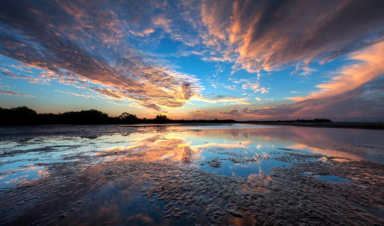 закат, облака, озеро, вода, берег, картинка, ней, правой, скачивания, кнопкой, мыши, save, картинку, выберите,