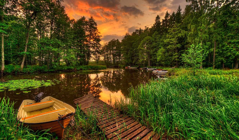 река, лодки, природа, лес, пейзаж, добавил, internet, закат, дата,