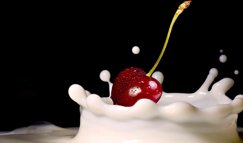 вишня, молоко, вишеника, десерт, картинка, шпалери, iphone, еда, wallbox,