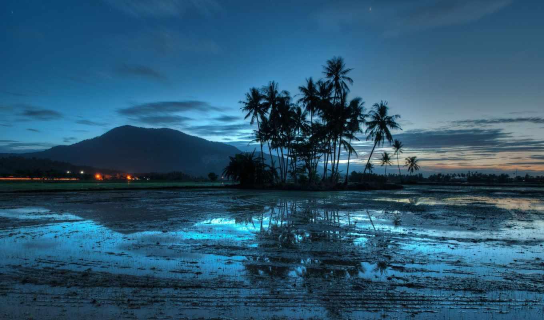 вечер, пальмы, гора, закат, malaysia, огни, природа, море, landscape, небо, разделе, ocean, свет, побережье,