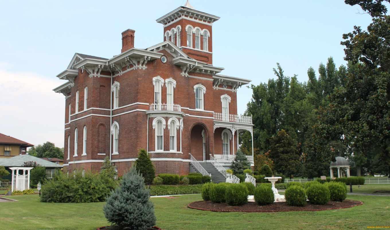 дома, особняк, design, brick, города, landscape, сша, газон, victorian, cairo, окно,
