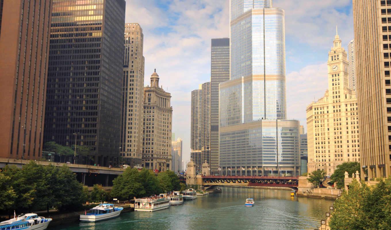 города, страны, дома, небоскребы, вид, water, места,