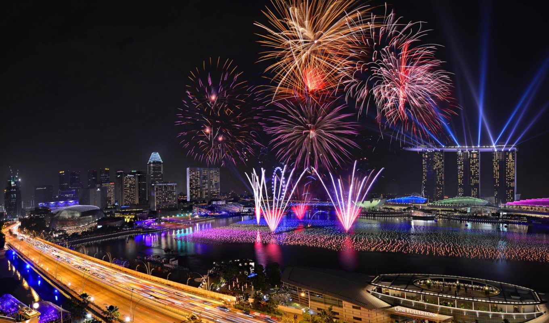 singapore, fireworks, new, год, ночь, город, огни,