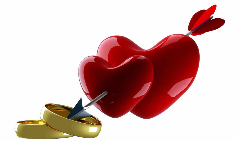 сердца, стрелой, два, кольца, обручальные, сердце, февр,