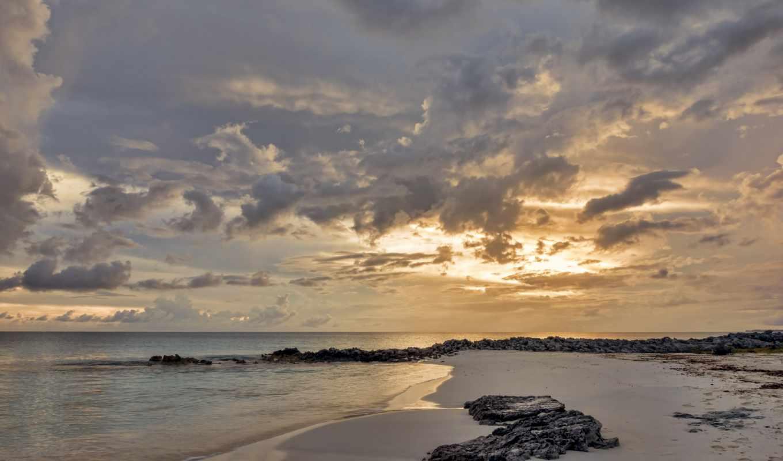 пляж, dusk, картинка,