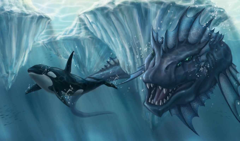 касатка, ocean, айсберги, monster, лед, пасть, картинка, hunting,