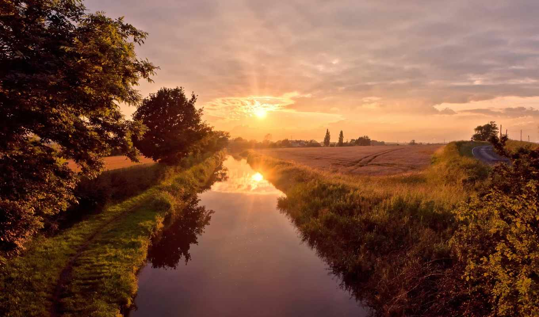 река, sun, отражение, summer, берега, небо, природа, лес,