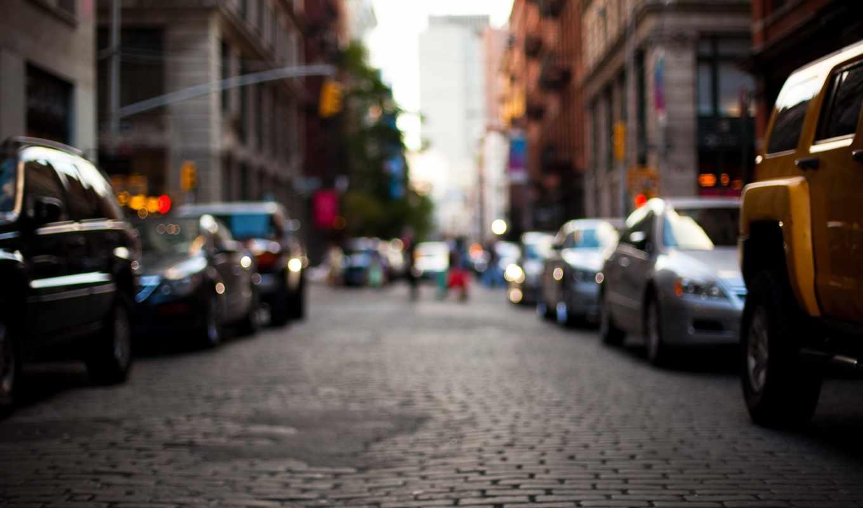 город, машины, дорога, улица, здания, размытость,