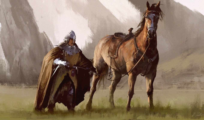 рыцарь, лошадь, art