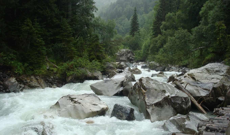 река, бурный, ручей, камни, природа, горы, картинка, picsfab, фабрика, картинок, изображение,
