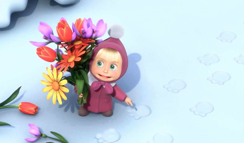 медведь, мультфильмы, цветы,