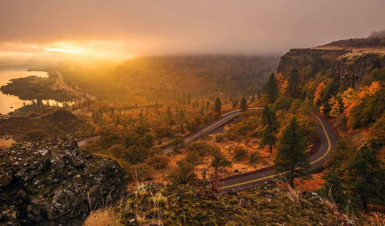 дорога, пейзаж, деревья, трасса, небо, солнце, закат, картинка,