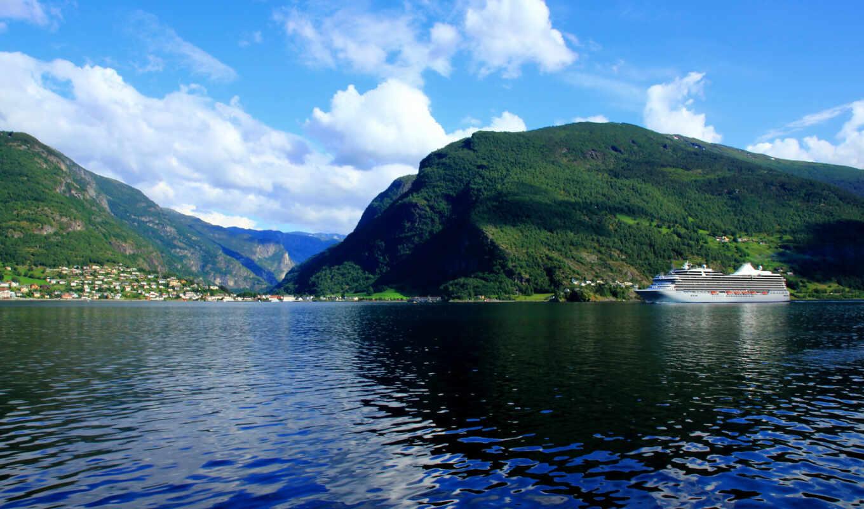 природа, горы, пейзаж, норвегия, альпы, sogneford, облака,