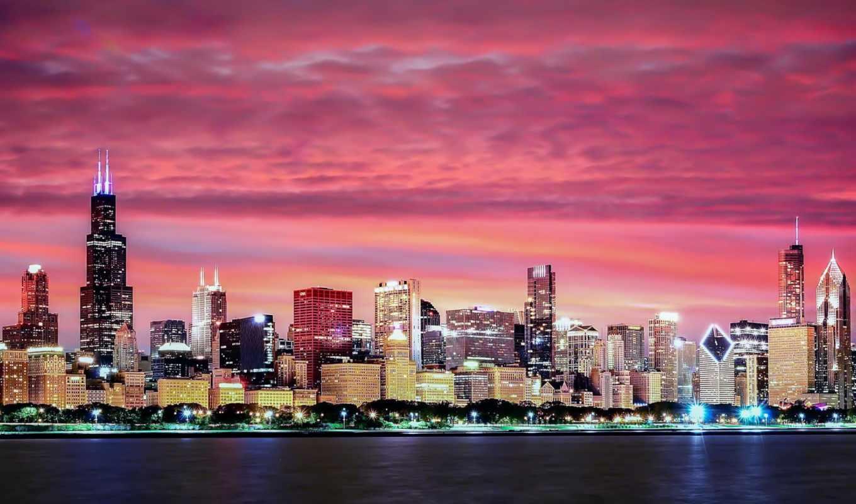 разное, chicago, дома, освещение, вечер,