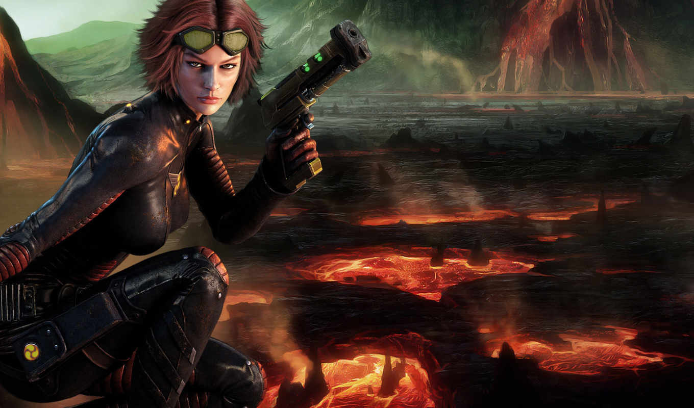 девушка, воин, пистолетом, warrior,