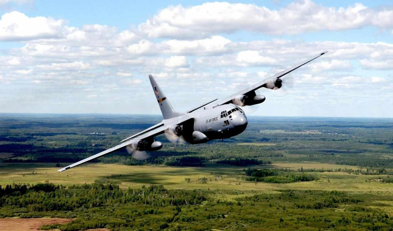 military, aircraft, деревья, plane, горизонт, небо, desktop, hercules, airforce, bomber, motorcycle, cargo, details, авиация, background,